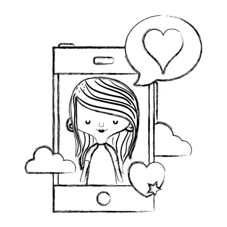 grunge woman with smartphone and heart inside chat bubble vector illustration Stock Illustratie
