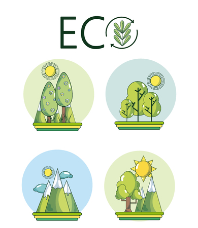 Set of eco icons and symbols collection vector illustration graphic design