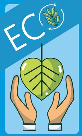 Hands protecting leaf over blue background vector illustration graphic design