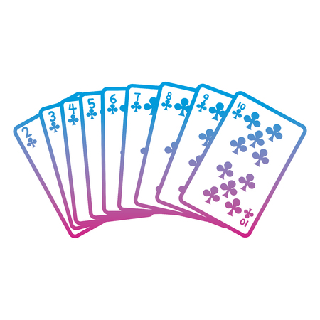 degraded line clovers cards classic casino game vector illustration