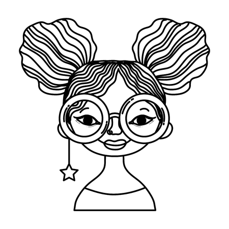 line woman hairstyle with glasses and star earring vector illustration