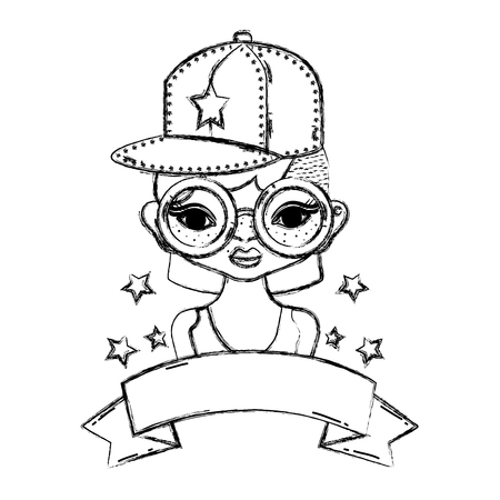 grunge woman hairstyle with cap and glasses accessories vector illustration