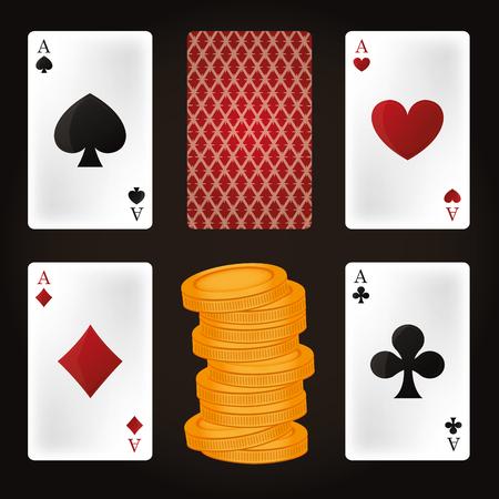 Set of casino elements vector illustration graphic design Illustration