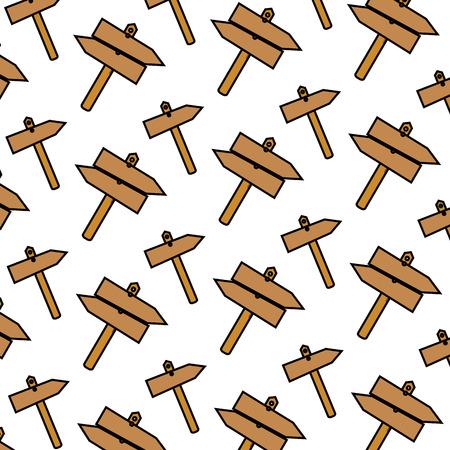 color wood frame road symbols background vector illustration