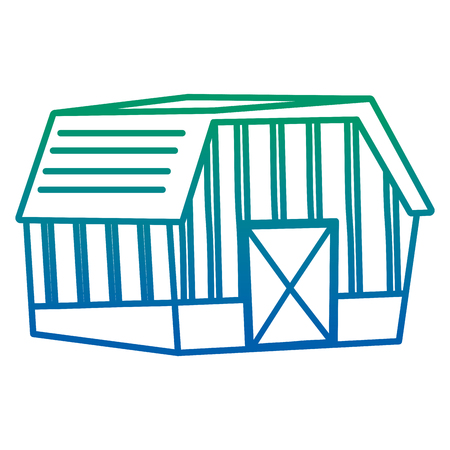 degraded line beautiful house farm architecture style vector illustration