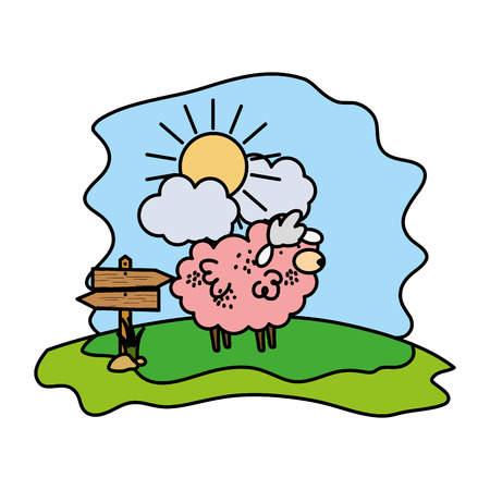 color sheep farm animal with wood notices vector illustration