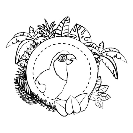 grunge parrot with exotic branches leaves decoration