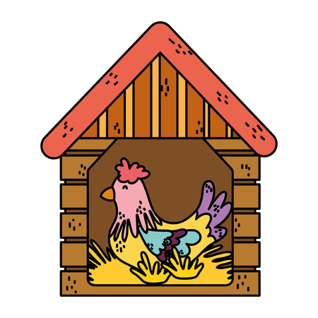color hen inside house laying farm eggs vector illustration
