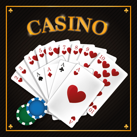 Casino leisure cards with chips vector illustration graphic design