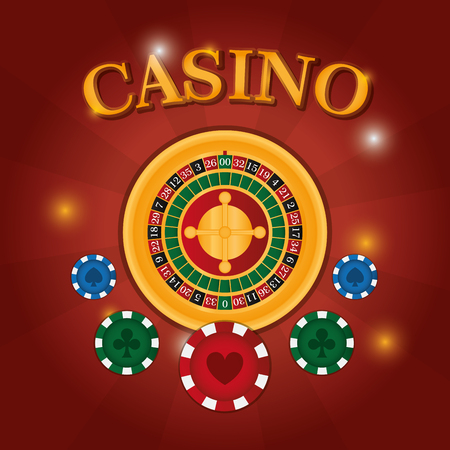 Casino game roulette with chips vector illustration graphic design Illustration