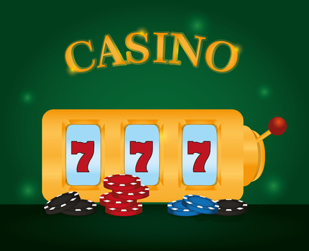 Casino sevens game with chips vector illustration graphic design