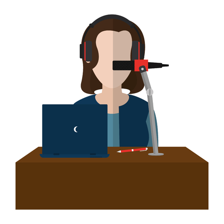 woman reporter occupation with laptop and microphone vector illustration