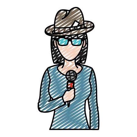 doodle woman reporter news with hat and microphone vector illustration