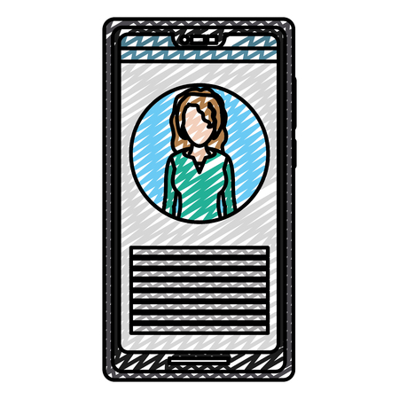doodle smartphone professional woman reporter news vector illustration