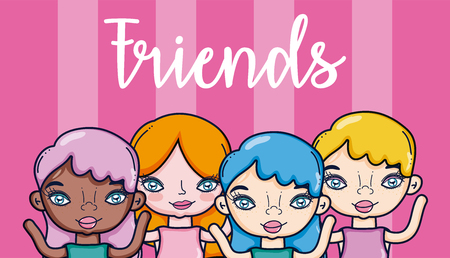 Beautiful girls cartoon over colorful background vector illustration graphic design