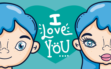 Te amo tarjeta con diseño gráfico lindo del ejemplo del vector de la historieta de los adolescentes