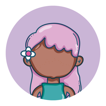 Young girl avatar faceless with flower on hair round icon vector illustration graphic design