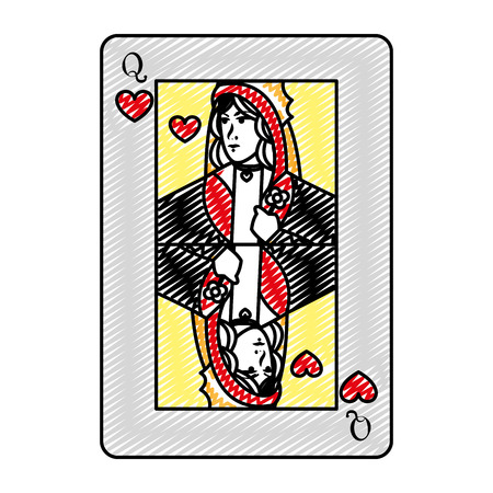 doodle queen heart card casino game 스톡 콘텐츠