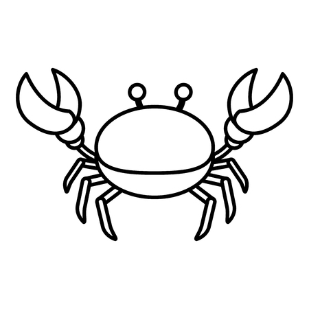 line nice crab tropical sea animal vector illustration