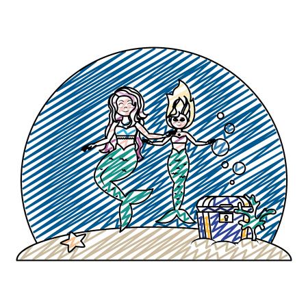 doodle sirens women friends under sea Illustration