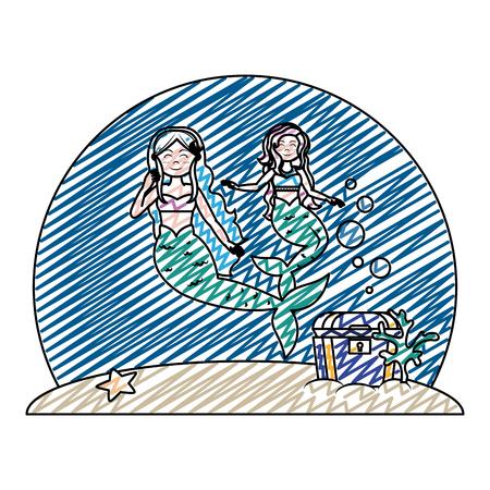 doodle pretty sirens women under sea