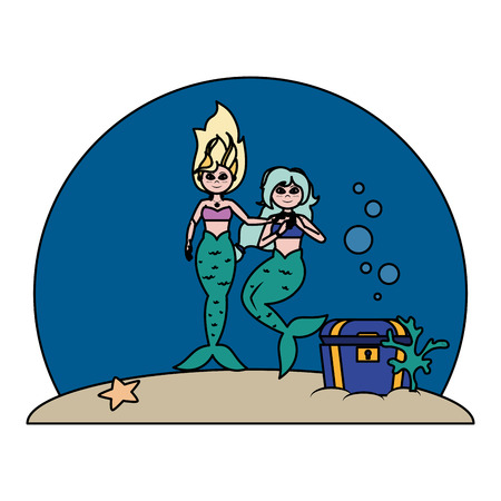 color cute sirens women under sea Illustration