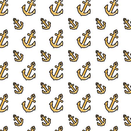 doodle nautical anchor symbol object background vector illustration