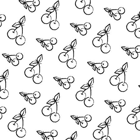 grunge delicious cherry fruit vitamin background vector illustration