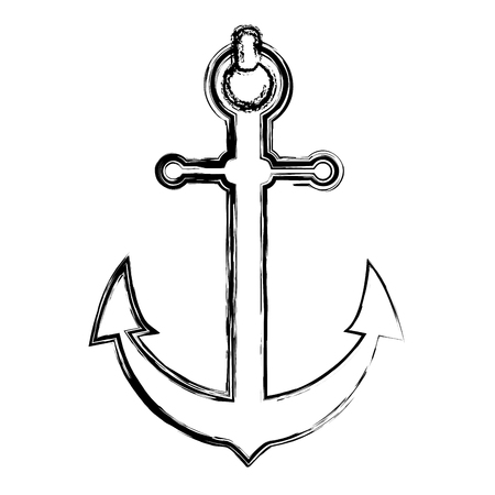 grunge nautical anchor object ship symbol vector illustration Ilustração