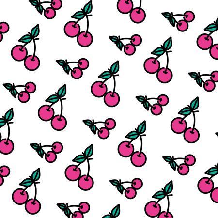 color delicious cherry fruit vitamin background vector illustration Illustration