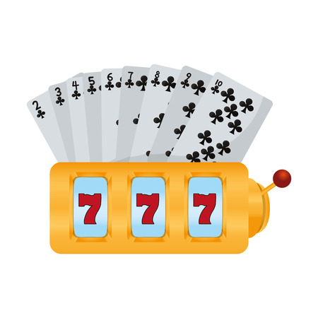 clubs cards and casino slot machine vector illustration