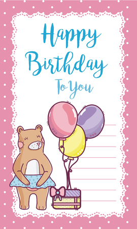 Happy birthday card and cute bear with cake and balloons vector illustration graphic design
