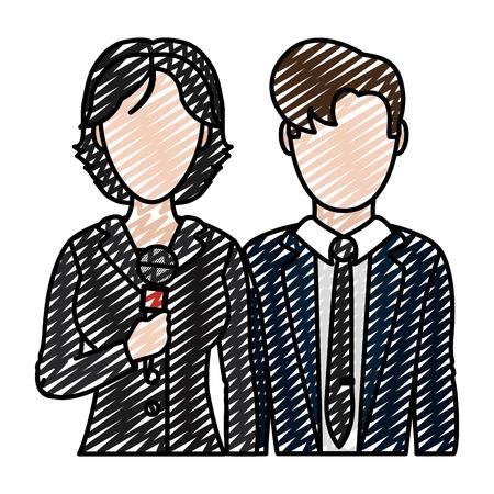 doodle woman and man press partner reporters vector illustration Stock Illustratie