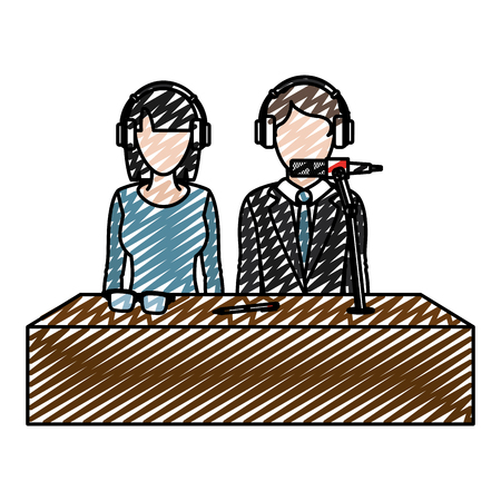 doodle woman and man partner reporters with headphones vector illustration