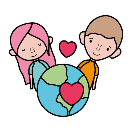 color happy couple with earth planet and passion heart Foto de archivo - 105698937