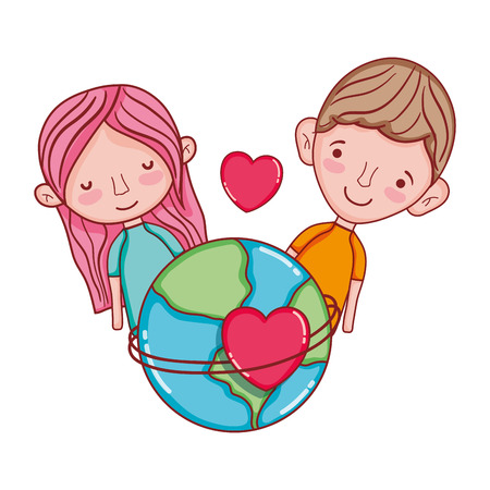 happy couple with earth planet and passion heart Foto de archivo - 105698975