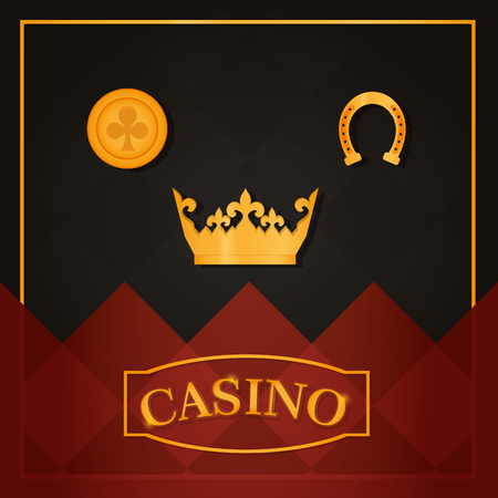 Casino crown and horseshoe with coin symbols vector illustration graphic design