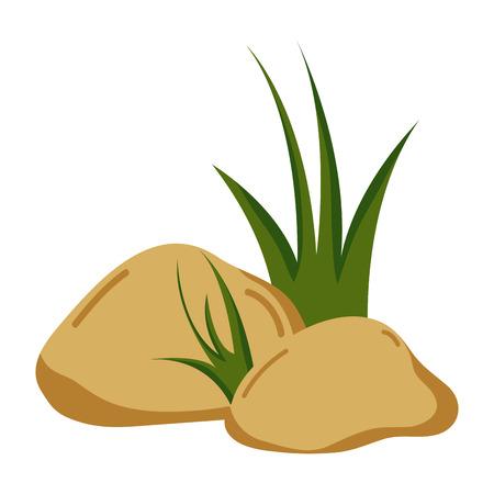 natural rocks texture and grass plant vector illustration Ilustração