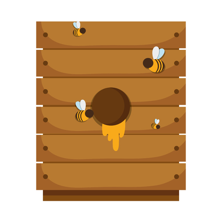 wood box with organic honey ingredient vector illustration
