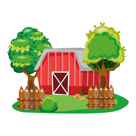 house farm with tress and wood grillage Illustration