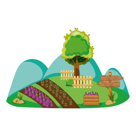 nature farm with organic products and tree vector illustration Illustration