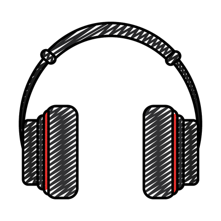 doodle music headphones object modern technology Stock Photo