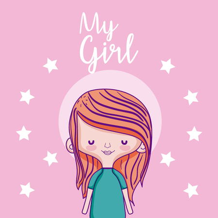 My beautiful girl cartoon over stars colorful background vector illustration graphic design