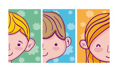 Set of kids cartoons cards vector illustration graphic design