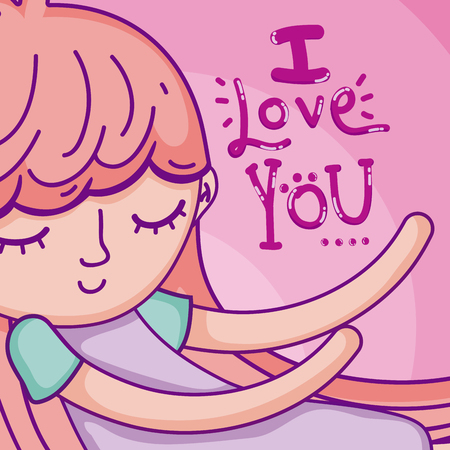 I love you card with beautiful girl cartoon vector illustration graphic design