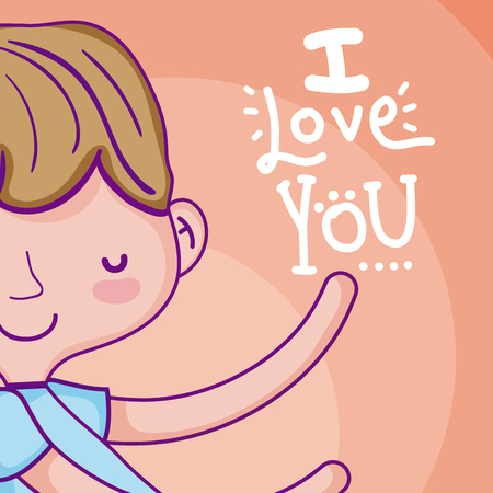 I love you card with cute boy cartoon vector illustration graphic design