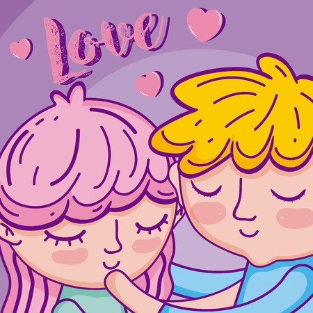 Cute boy and girl in love cartoons vector illustration graphic design Ilustrace