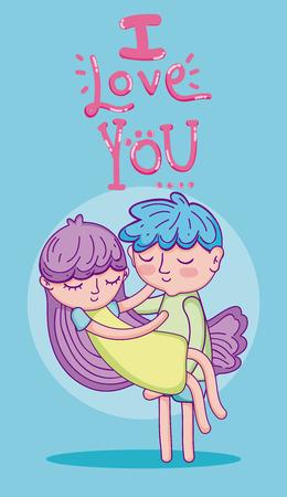 Lindo niño y niña en amor dibujos animados tarjeta ilustración vectorial diseño gráfico Ilustración de vector
