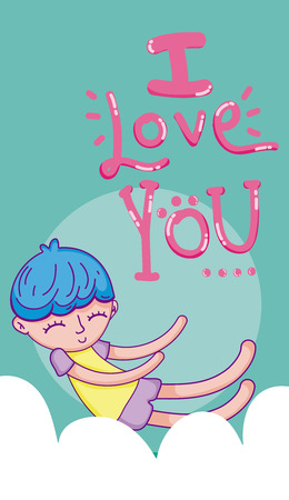 I love you card with boy kid cartoon flying on cloud vector illustration graphic design Illustration