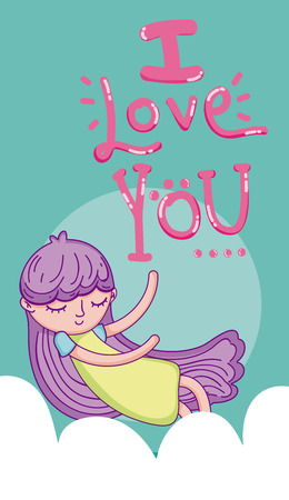 I love you card with girl kid cartoon flying on cloud vector illustration graphic design Illustration